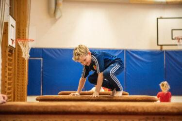 A gymnastics class