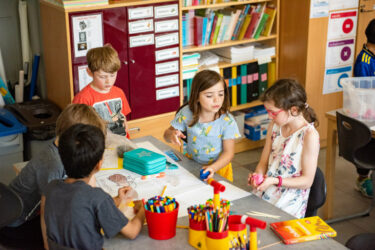 Primary school students working together in a classroom